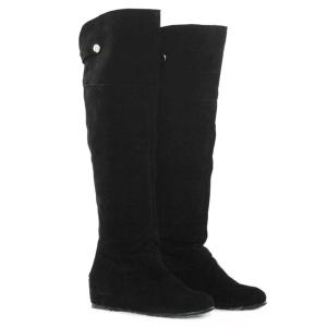 Suede Metal Hidden Wedge Knee High Boots - BLACK 43