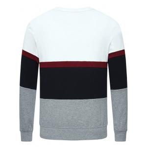 Stripe Insert Long Sleeve Crew Neck Sweatshirt - OFF WHITE 4XL