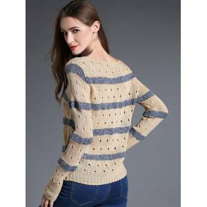 Hollow Out Striped Pullover Sweater -