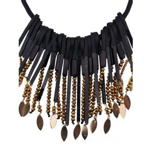 Beaded Alloy Leaf Tassel Fake Collar Necklace -