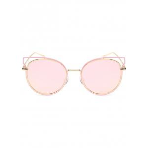 Hipsters Cut Out Metal Cat Eye Mirrored Sunglasses -