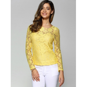 Long Sleeve Sheer Lace Blouse - YELLOW 4XL
