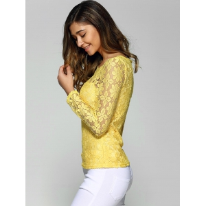 Long Sleeve Sheer Lace Blouse -