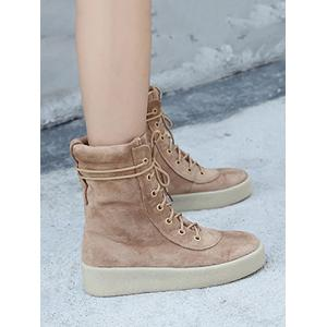 Flock Platform Lace-Up Short Boots -