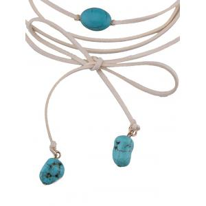 Layered Faux Turquoise Tie Choker Necklace - WHITE