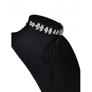 Tiered Rhinestone Flower Choker Necklace - COLORMIX