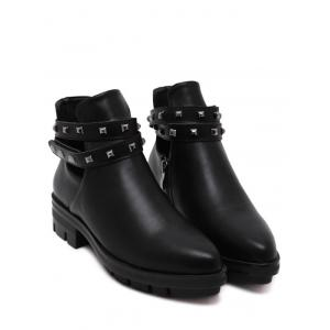 Pointed Toe Rivets Cut Out Ankle Boots - BLACK 39