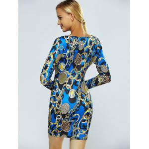 V Neck Chain Print Bodycon Dress - BLUE XL
