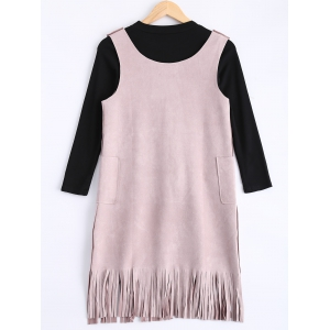 Faux Suede Fringed Dress and Stretchy Knitwear -
