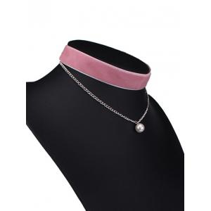 Layered Faux Pearl Velvet Choker Necklace -