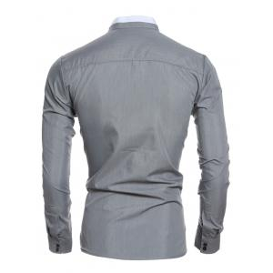 Color Block Edging Long Sleeve Grandad Chinese Collar Shirt - GRAY 2XL