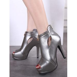 Lock Hollow Out Platform Peep Toe Shoes -