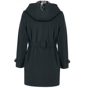 Hooded Belted Wool Blend Coat - BLACK GREY 3XL