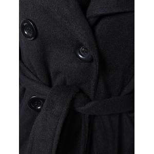 Hooded Belted Wool Blend Coat - BLACK 2XL