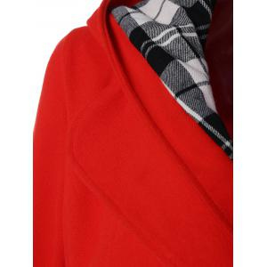Hooded Belted Wool Blend Coat - RED 3XL