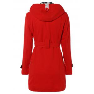 Hooded Belted Wool Blend Coat -