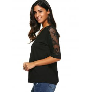 Lace Patchwork Zipper Up Blouse - BLACK XL