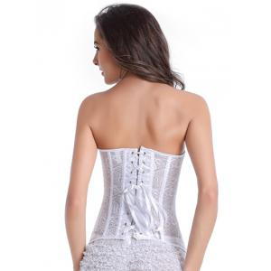 Skeletoned Zip Up Lace Spliced Strapless Corset Bra With G-String - WHITE S