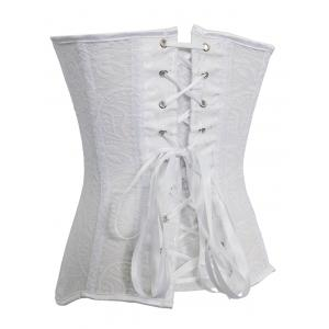 Skeletoned Zip Up Lace Spliced Strapless Corset Bra With G-String -