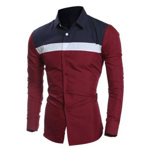Color Block Splicing Turn-Down Collar Shirt - WINE RED 2XL