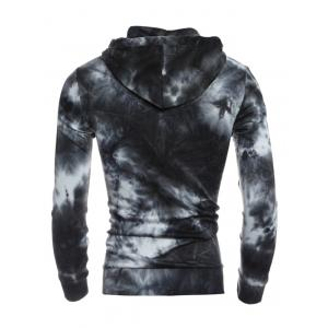 Hooded Ombre Bandhnu Button Embellished Hoodie - BLACK 2XL