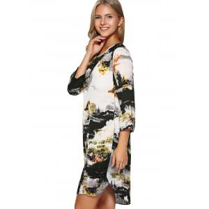 Chinese Painting Keyhole Asymmetrical Dress -