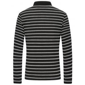 Long Sleeve Button Up Striped Polo Shirt -