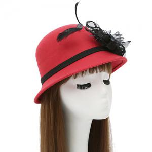 Feather Mesh Yarn Dome Faux Wool Fedora Hat - RED