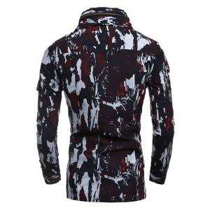 Multi-Pocket Zip Up Camouflage Coat - RED 2XL