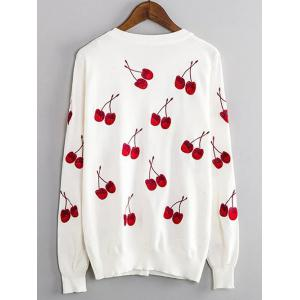 Cherry Embroidered Buttoned Cute Plus Size Cardigan - WHITE 4XL