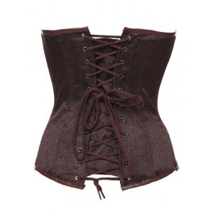 Strapless Skeletoned Lace-Up Corset With Panties - BROWN 6XL