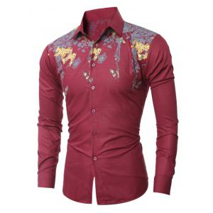 Golden Floral Pattern Turn-Down Collar Shirt - WINE RED 2XL