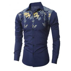Golden Floral Pattern Turn-Down Collar Shirt -
