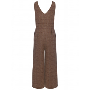 Plaid Pocket Design Jumpsuit -