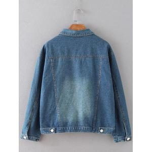 Poches rabattes Cracked Ripped Jean Jacket - Bleu 3XL