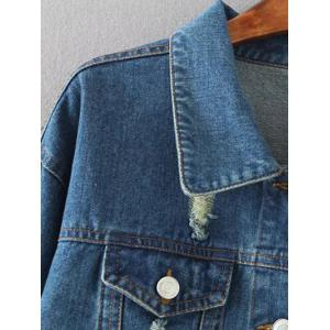Poches rabattes Cracked Ripped Jean Jacket -