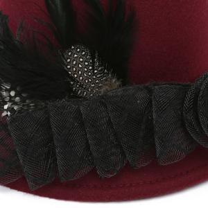 Feather Floral Mesh Embellished Fedora Hat - RED
