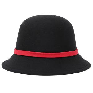Bowknot Strappy Dome Fedora Hat - BLACK