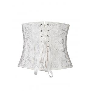 Hook Up Jacquard Lace-Up Corset With Panties - WHITE L