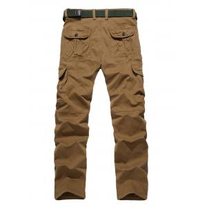 Plus Size Zipper Fly Straight Leg Pockets Embellished Cargo Pants -