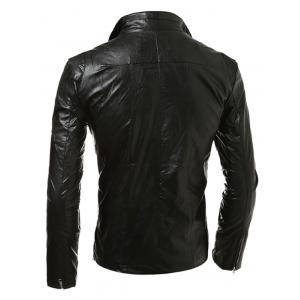 Stand Collar Zip Up Faux Leather Jacket -