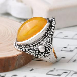 Oval Faux Canary Stone Ring -