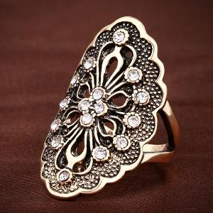 Hollowe Out Rhinestone Flower Ring -