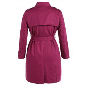 Plus Size Double-Breasted Tie-Waist Trench Coat - ROSE RED 5XL