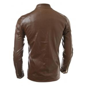 Slim Fit Zip Up Faux Leather Jacket -