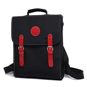 Couleur Spliced ​​Double Buckle Nylon Backpack - Rouge et Noir
