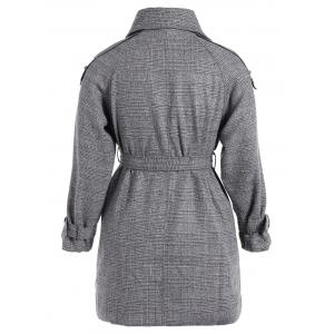 Plus Size Double-Breasted Tie-Waist Coat - GRAY 5XL