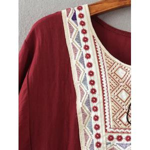 Tribal Embroidered Tasseled Flounced Blouse -