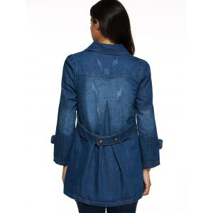 Frayed Double Breasted Denim Coat - DENIM BLUE M