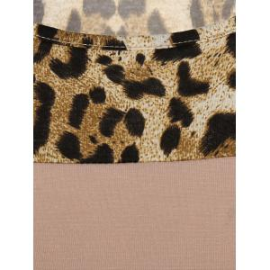 Pockets Leopard Print T-Shirt - KHAKI XL